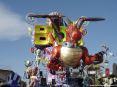 Carnevale di Viareggio (LU) 2008 - Ecco il carro di Emilio Cinquini - Il Grillo FURIOSO visto dalla parte anteriore, col suo drago e Beppe Grillo in alto.