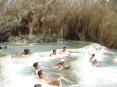 Saturnia Terme e paese (GR) - Da un lato un fitto canneto nasconde le vasche termali. Molte persone in costume si rilassano nelle acque con benefici per la pelle, la circolazione, le vie respiratorie e soprattutto per lo spirito.