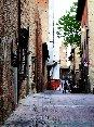 Certaldo(FI) - Una veduta di via Boccaccio. Sullo sfondo si nota il Palazzo Pretorio e sulla sinistra, nascosta da un cantiere per restauro, la casa del Boccaccio. (MAG2006)